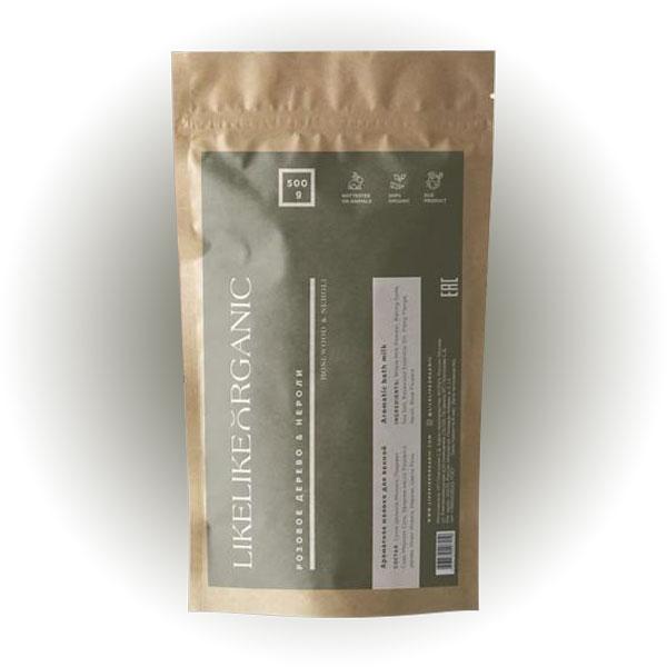 Ароматное молоко для ванны «Розовое дерево и нероли», Likelike Organic